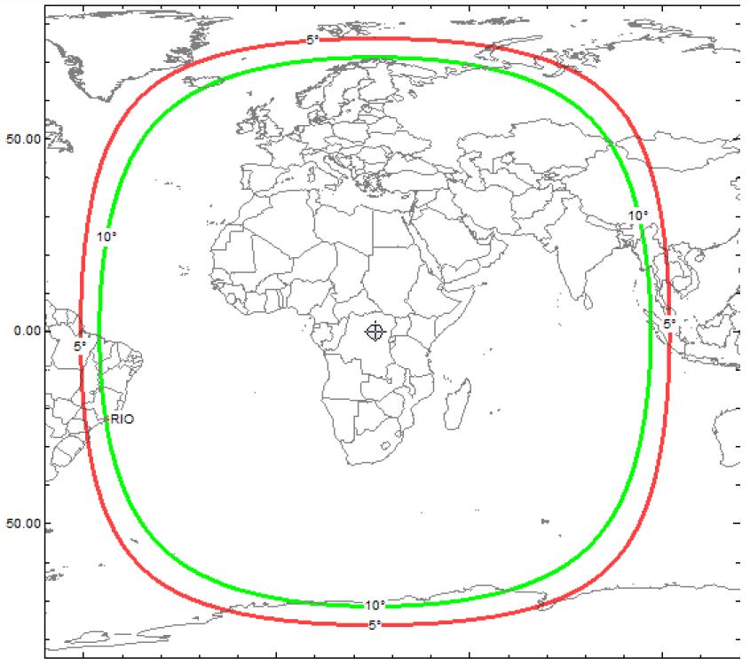 Zone de couverture des transpondeurs de QO-100